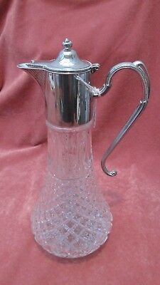 A Superb Classic Vintage Cut Glass & Silver Plated Top Claret or Wine Decanter