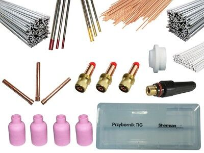 Tig consumables set torch spares AC DC steel aluminum welding wire electrode box