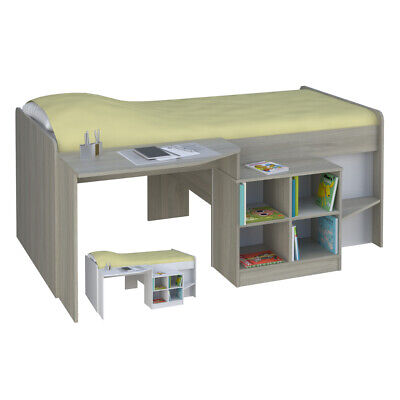 Pilot Wood Kid's Mid Sleeper Bed - 3ft Single - with Mattress and Colour Options
