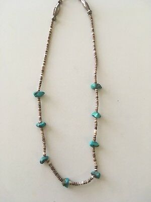 Estate Native American Indian Sterling Silver Turquoise Bone Necklace RARE
