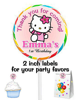0e4ebb160 20 HELLO KITTY BIRTHDAY PARTY FAVORS STICKERS LABELS for lollipops ~ goody  bags