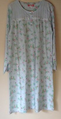 New Ladies Poly/Cotton Jersey Nightdress Long Sleeve Button Front Nightie