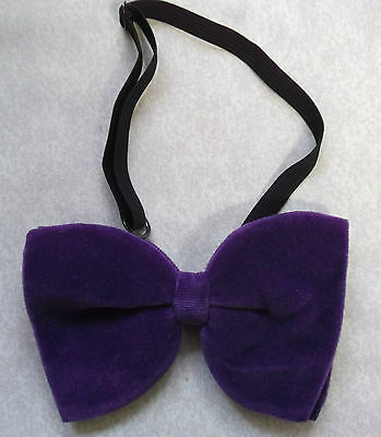 300e249f1490 Bow Tie Vintage Velvet Mens Bowtie 1970s DANDY CRUISER DARK PURPLE RETRO