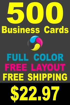 500 Full Color Gloss Custom Business Cards - Plus FREE Shipping - $22.97