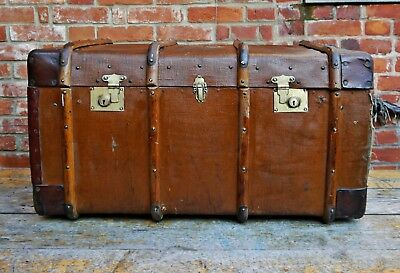 Large Vintage Canvas & Wood Steamer Trunk Chest Banded 30s Luggage Brass Old