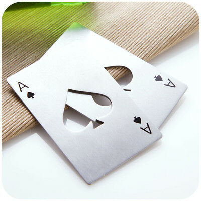 New 5 Pcs Metal Outdoor Poker Playing Cards Throwing Toy Creative Bottle Opener