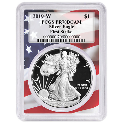 2019-W Proof $1 American Silver Eagle PCGS PR70DCAM First Strike Flag Frame