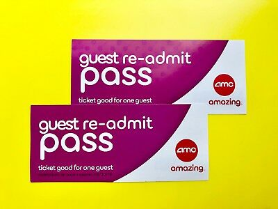 2 AMC RE-ADMIT Movie Ticket Imax/3D/Dolby Atmos Exp 9/2019, Free & Fast  Shipping