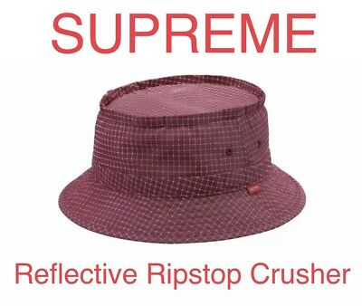 f52019d6c4d Supreme Reflective Ripstop Low Crusher Bucket Hat Size M L Cranberry FW18  3M New