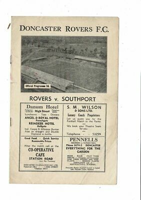 Doncaster Rovers v Southport Football Programme 1946/47
