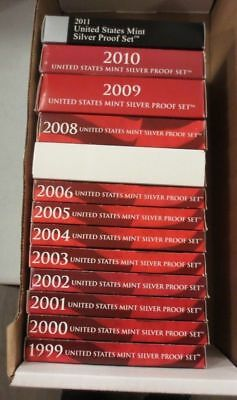 Run of (13) United States Mint SILVER Proof Sets w/ Boxes & COAs (1999-2011) (c)