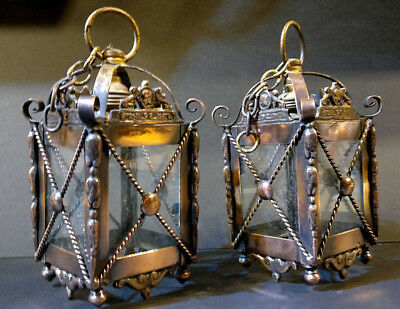 Pair of Victorian Gothic Arts and Crafts Copper Porch Entry Lanterns Lights