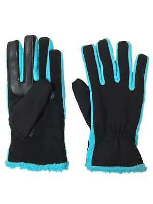 Isotoner Active Smart Touch Womens Black & Blue Tech Text Gloves Smartouch L/XL