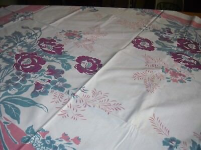 """Vintage Tablecloth White With Burgundy Flowers & Pink Border 43"""" x 51"""""""