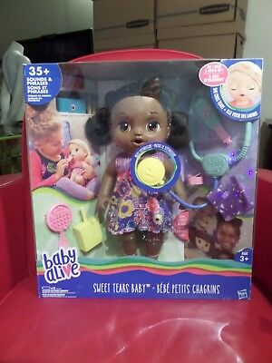 Baby Alive Sweet Tears Baby Black Curly Hair Speaking Peeing Crying Doll