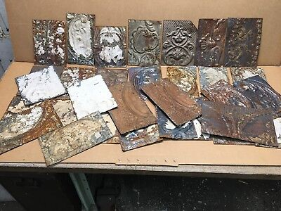 """25pc Craft Lot of 5"""" by 8"""" Antique Ceiling Tin Vintage Reclaimed Salvage Art"""