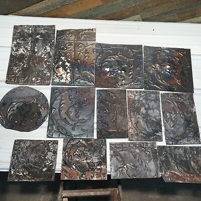 "13pc Lot 12"" and under Antique Ceiling Tin Vintage Reclaimed Salvage Art Craft"