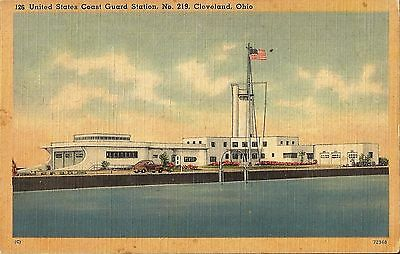Postcard OH Cleveland Ohio US Coast Guard Station #219 1942 Linen
