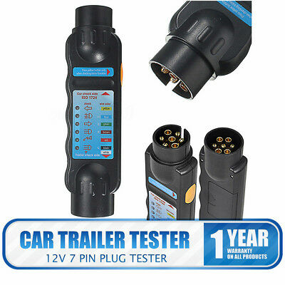 7 Pin Towing Trailer Horsebox Caravan Light Tester Check Plug Socket 12 V Wiring