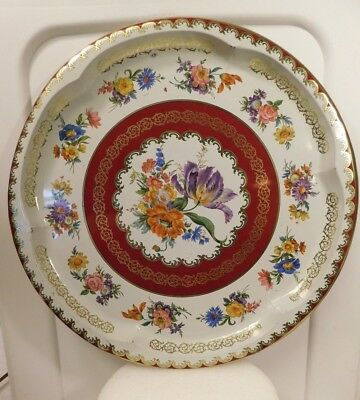 """Vintage Daher Decorated Ware Tin Tray Floral Bouquet Made in England 12.5"""" (B)"""
