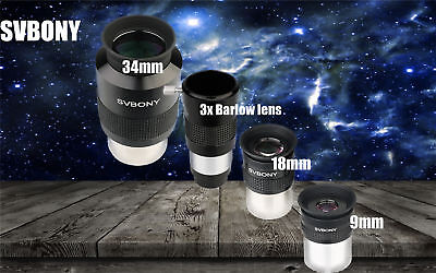 SVBONY Wide Angle 72°Series 9mm/18mm/34mm Aspheric Eyepieces+3xBarlow Lens