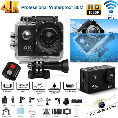 4K 2'' Ultra HD 1080P WiFi Sports Camera DV Video 16MP GoPro Action Camcorder UK