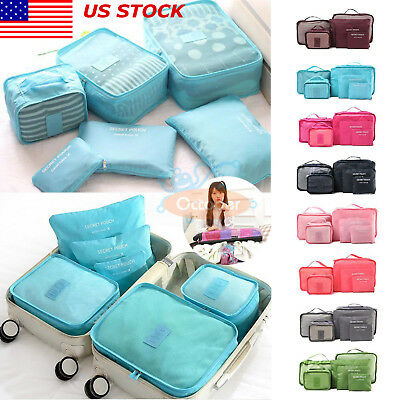 US 6Pcs Travel Waterproof Clothes Storage Bags Pack Cube Luggage Organizer Pouch