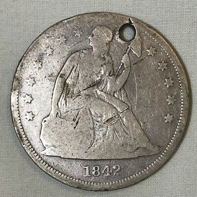 1842 United States Seated Liberty $1 One Dollar Coin 90% Silver Low Grade Holed
