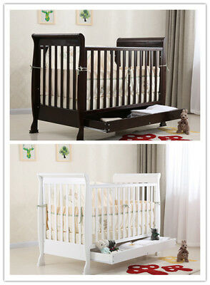 New-3-in-1-Sleigh-Wooden-Baby-Infant-Cot-Toddler-Bed-Sofa-Walnut-White-Mattress
