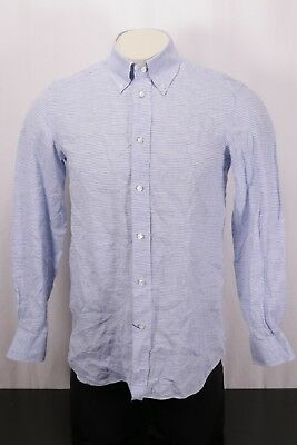 43a4d9446dd BORRELLI Napoli Blue White Plaid Linen Long Sleeve Sport Shirt -Fits Small