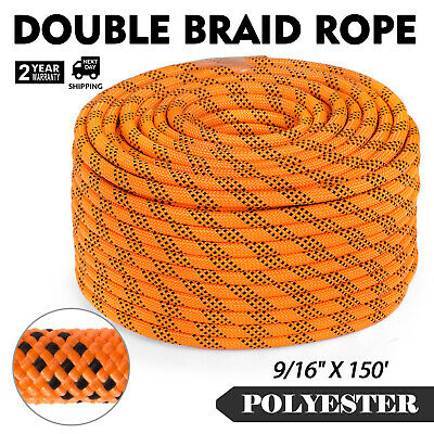 150FT Braid Rope Rock Polyester Rope 9/16'' Rigging Rope Rappelling Yellow Black
