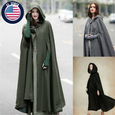 Punk Women's Cloak Medieval Jacket Parka Cape Hooded Coat Cosplay Costume