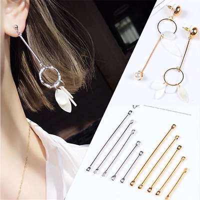 50X Double Cylinder Connecting Rod Metal Earrings Ear Clip Jewelry Making DIY