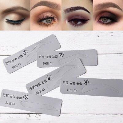 5PCS/Set Eyebrow Template Stencils Brow Grooming Card Trimming Shaping Tool New