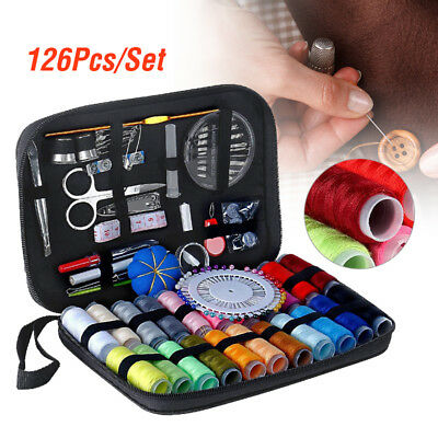 126Pcs/Set Sewing Kit Scissors Needle Thread For Home Stitching Hand Sewing Tool