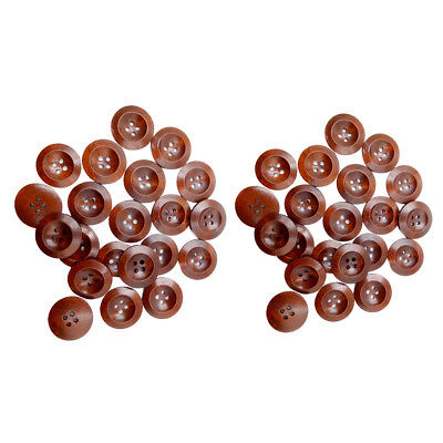100Pcs Antique Wooden Sewing Buttons 4 Holes for Sewing DIY Dolls Knitting
