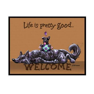 Belgian Sheepdog Dog Life Is Good Cartoon Artist Doormat Floor Door Mat Rug