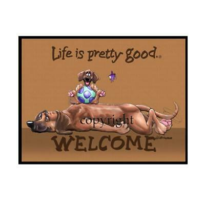 Rhodesian Ridgeback Dog Life Is Good Cartoon Artist Doormat Floor Door Mat Rug