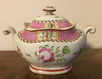 Antique 18th 19th c. Staffordshire Pearlware Sugar Bowl King's Rose George III