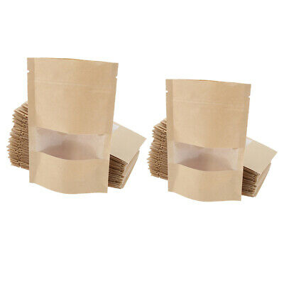 100x Stand Up Zip Lock Brown Kraft Paper Bag w/ Window for Coffee