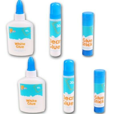6Pc GLUE SET Strong Adhesive Multipurpose White Clear Stick Bottle PVA DIY Craft