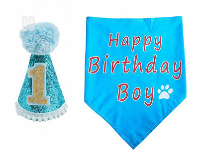 BIPY Dog 1st Birthday Hat and Bandana Set for Boys Small Medium Large Dogs...