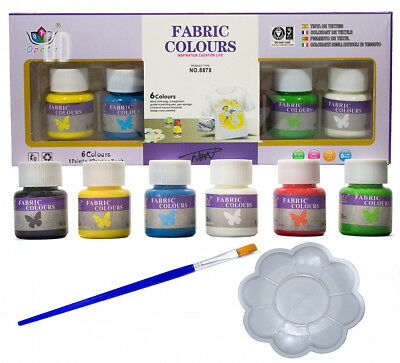 Fabric Paint Set for Textile and Clothing with Brush Palette - Permanent...