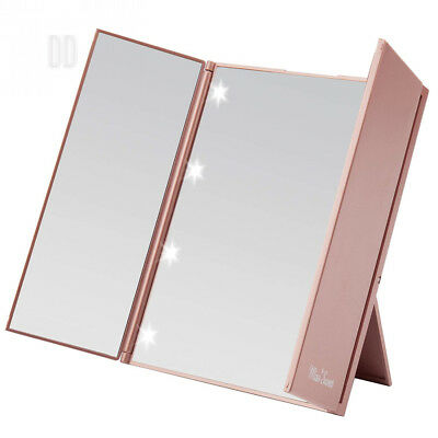 Miss Sweet Lighted Trifold Mirror for Beauty Makeup Travel Compact (Gold Rose)