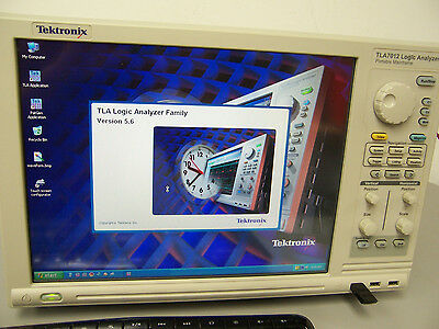 9231 Tektronix Tla7012 Logic Analyzer Touch Screen W/ Tla7Aa4 & Tla7Pg2