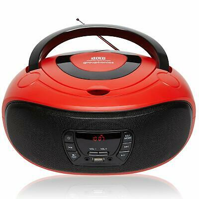 Boombox CD Player  Portable GTCD-501 Red Radio with USB, MP3 Player & AUX-IN