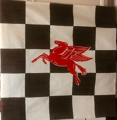 N.O.S. MINT VINTAGE 1950's MOBIL OIL CHECKED RACING FLAG WITH FLYING RED HORSE