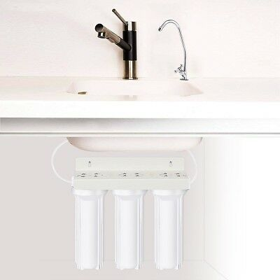 3-Stage Under-Sink Drinking Water Filter Purifier System w/ Chromed Faucet Tools