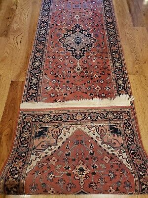 """Outstanding PERSIAN Hand Knotted Wool 2'6"""" x 9' Runner Fine Rose Vintage Rug"""