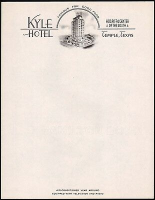Vintage letterhead KYLE HOTEL hotel pictured Temple Texas new old stock n-mint+